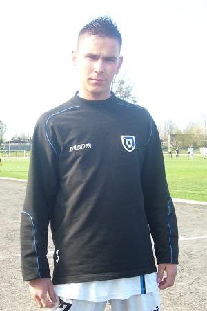 Łukasz Szczeciński zdobył jedną z bramek w meczu z LKS Dąbrowa Chełmińska.